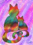 Nick Gustafson Art - Splatter Cats 2 by Nick Gustafson