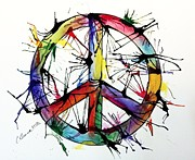 Christy Bruna Prints - Splatter Peace Print by Christy Bruna