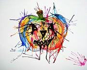 Pride Paintings - Splatter Pumpkin by Christy Bruna