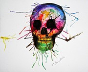 Black Tie Painting Posters - Splatter Skull Poster by Christy Bruna