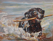 Dog With Stick Prints - Splish Splash Print by Carol  DeMumbrum