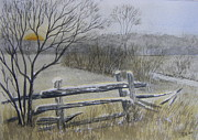 Split Rail Fence Painting Prints - Split Rail Fence Print by Jerry Zelle
