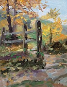 Indiana Autumn Painting Framed Prints - Split Rail Fence Framed Print by Spencer Meagher