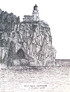 Rocks Drawings - Split Rock Light by Frederic Kohli