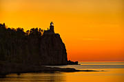 Sunrise Lighthouse Prints - Split Rock Lighthouse Print by Steve Gadomski