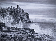 Lighthouse Drawings - Split Rock by Vicky Path