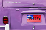 American Flag Framed Prints - Split VW Campervan Framed Print by Tim Gainey