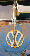 Vw Van Prints - Split Window Bus With Texture Print by Ron Regalado