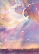 Sun Rays Painting Prints - Splits the Silver Lining Print by Yevgenia Watts