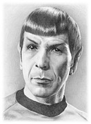 Spock Drawings Framed Prints - Spock - Fascinating Framed Print by Liz Molnar