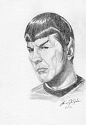 Star Drawings Framed Prints - Spock Framed Print by Lana Tyler