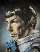 Kirk Pastels Framed Prints - Spock - The Pain of Loss Framed Print by Liz Molnar