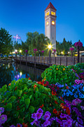 Streetlight Posters - Spokane Clocktower by Night Poster by Inge Johnsson