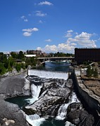 Spokane Falls Prints - Spokane Falls and Riverfront Print by Michelle Calkins