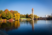 Spokane Framed Prints - Spokane Riverfront Park in Fall colors Framed Print by Rudolf K