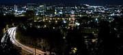 Spokane Washington Skyline At Night Print by Daniel Hagerman