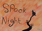 The Haunted House Painting Posters - Spook Night Party Here by Janet Watson Poster by Janet Watson