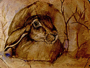 Bush Wildlife Paintings - Spooked Hare by Angel  Tarantella