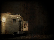Campfire Framed Prints - Spooky Airstream Campsite Framed Print by Edward Fielding