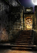 Upstairs Posters - Spooky backlit door way in moon light Poster by Oleksiy Maksymenko