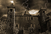 Oppressive Posters - Spooky chateau Poster by Rod Jones