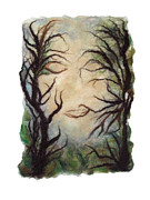 Felting Prints - Spooky Forest Print by Gina Barakov