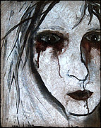 Creepy Digital Art Metal Prints - Spooky Gothic Zombie Portrait Painting Fine Art Print Metal Print by Laura  Carter