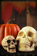 Halloween Photo Posters - Spooky Halloween Skulls Poster by Edward Fielding