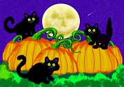 Kittens Digital Art Posters - Spooky Night in Pumpkin Patch Poster by Nick Gustafson