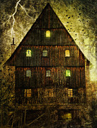 Vine Leaves Digital Art Prints - Spooky Old House Print by Jutta Maria Pusl