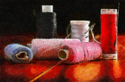 Various Painting Framed Prints - Spools of thread against dark painting Framed Print by Magomed Magomedagaev