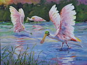 Spoonbill Paintings - Spoonbills at Sunset by Tom  Bond