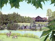 Lodge Furnishings Drawings Prints - Sporting Clays at Seven Springs Mountain Resort Print by Albert Puskaric