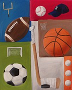 Hockey Net Posters - Sports Collage Poster by Tracie Davis