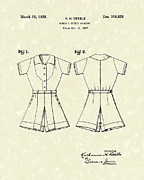Tennis Drawings Posters - Sports Garment 1938 Patent Art Poster by Prior Art Design