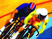 Overalls Painting Posters - Sports Track Cycling Poster by Lanjee Chee