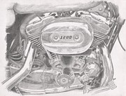 Bike Drawings - Sportster Engine by Stephen Brissette