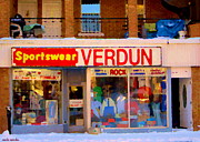 Apparel Painting Prints - Sportswear Verdun Apparel And Accessories 3751 Wellington Montreal Winter Scene Carole Spandau Print by Carole Spandau