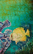 Blue Water Tapestries - Textiles Posters - Spotfin Butterflyfish  Poster by Sue Duda