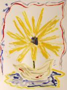 Abstract Vase Flower Print Prints - Spotlight on Yellow Print by Mary Carol Williams