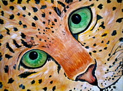 Leopard Mixed Media Posters - Spotted Poster by Debi Pople