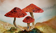 Trippy Posters - Spotted Mushrooms Poster by Beverley Harper Tinsley