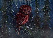 Nick Gustafson - Spotted Owl in the Falling Snow
