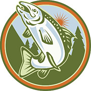 Speckled Trout Digital Art Posters - Spotted Speckled Trout Fish Jumping Poster by Aloysius Patrimonio