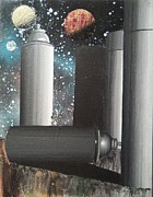 Outer Space Painting Originals - Spray Cans in Space by Garrett Hammersley