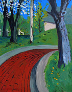 Brick Painting Originals - Spring Above Spring Street Red Brick Road by Charlie Spear