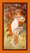 White Dress Digital Art Framed Prints - Spring Framed Print by Alphonse Maria Mucha