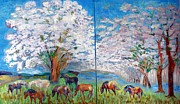 Trees Reliefs Prints - Spring and Horses Print by Vicky Tarcau