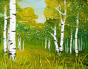 Snowy Night Paintings - Spring Aspen by Wendy Wilkins