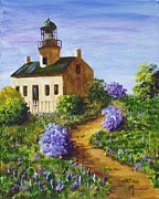 Lighthouse Art - Spring at Point Loma Lighthouse by Maic Palmieri